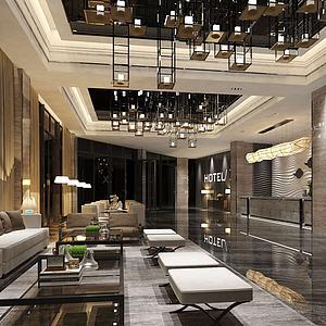 3d酒店大堂休息区模型
