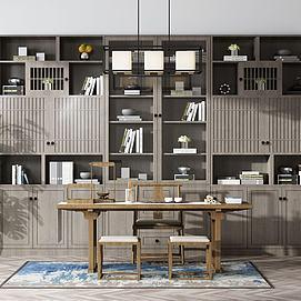 新中式书柜书桌模型