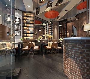 中式餐厅饭店3d模型