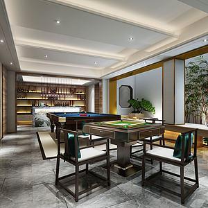 娱乐室台球桌麻将桌模型3d模型