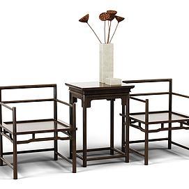 休闲桌椅组合模型