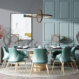 现代风格餐桌椅模型