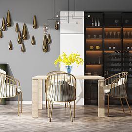 现代木桌铁艺椅子模型