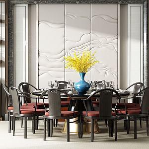 中式大餐桌椅组合模型3d模型