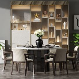 餐桌椅柜子组合模型