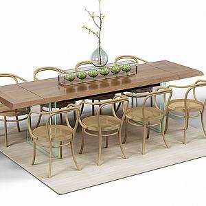 木制桌椅组合模型3d模型