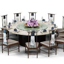 中式宴会餐桌模型