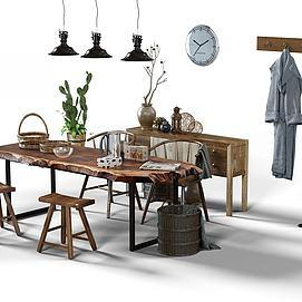 木凳木桌木柜组合模型