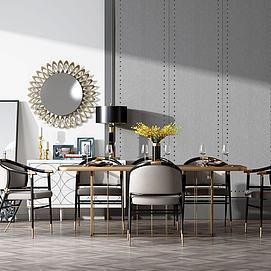 现代餐桌椅子模型