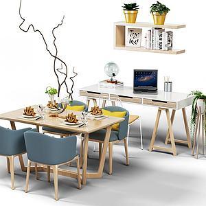 3d北欧餐桌椅子书桌模型