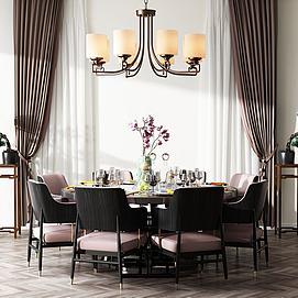 现代餐桌椅组合模型