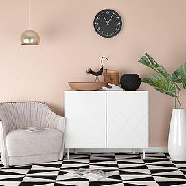 现代单椅边柜花瓶模型
