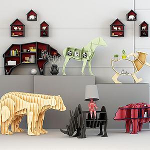3d动物几何装饰柜模型