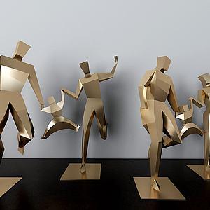 公园金属人物雕塑摆件模型