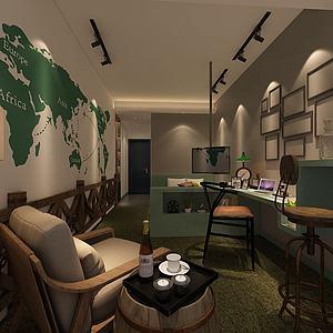 3d国际航线壁画特色客厅模型