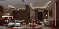 新中式卧室客厅套房模型3d模型