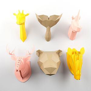 3d几何动物头挂件模型