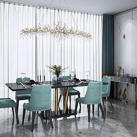 北欧餐桌椅餐边柜模型