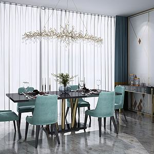 3d北欧餐桌椅餐边柜模型