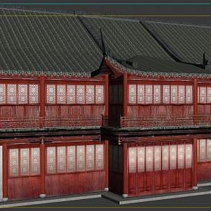 3d古代建筑排楼模型