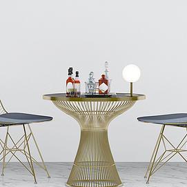 现代休闲桌椅模型