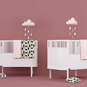 现代温馨婴儿床模型