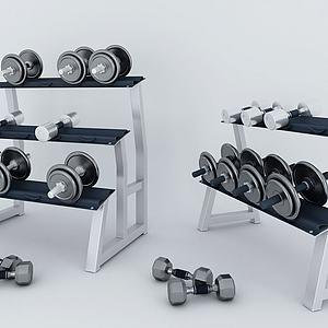 哑铃健身器材组合模型