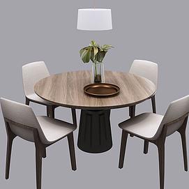 北欧圆形餐桌椅模型
