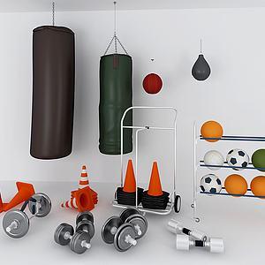 拳击沙袋哑铃体育器材模型3d模型