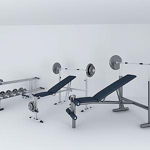 平板卧推杠铃架模型3d模型