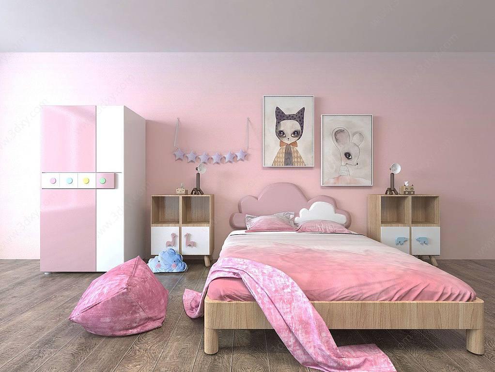 粉红儿童房家具组合