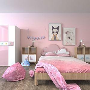 粉红儿童房家具组合3d模型