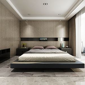 現代臥室簡約雙人床3d模型