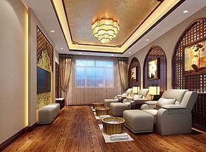 中式足浴店3d模型