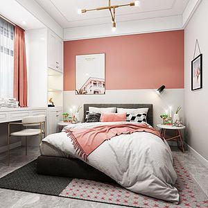 3d现代北欧轻奢主卧室模型