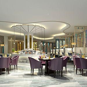 現代輕奢風格自助餐廳模型3d模型