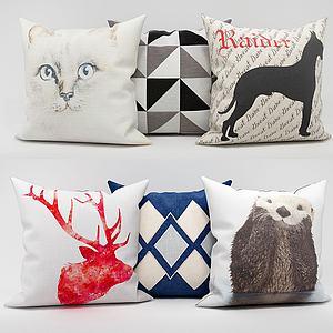 3d现代时尚动物抱枕模型