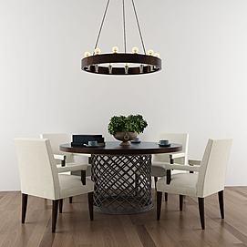 美式风格餐桌椅组合模型