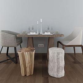美式简约餐桌椅组合模型