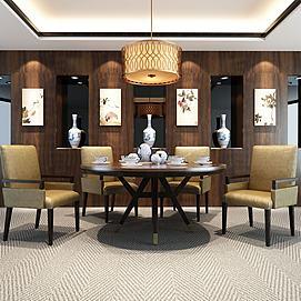 中式实木皮艺餐桌椅组合模型
