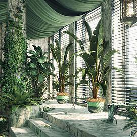 盆栽墙藤绿植组合模型