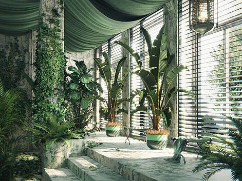 盆栽墙藤绿植组合3d模型