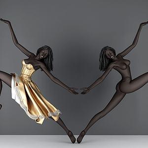 现代黑人女模特模型