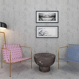 简约椅子落地灯壁画组合模型