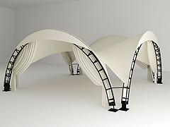 户外白色帐篷组合模型3d模型