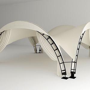 户外白色帐篷组合模型