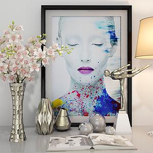 现代花卉花瓶台灯模型