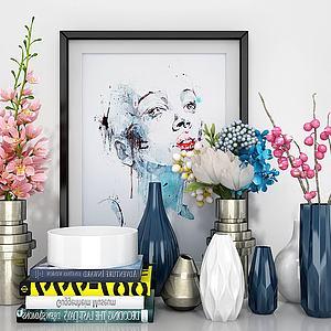 花瓶花艺人像画组合模型