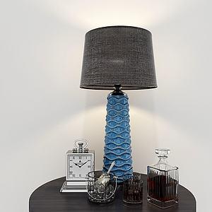现代台灯钟表摆饰模型