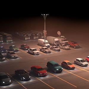 户外汽车夜景实景模型